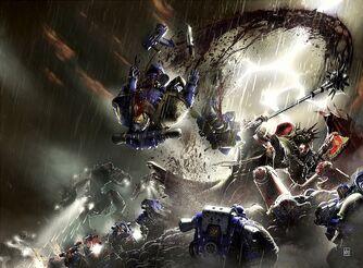 Lorgar y Angron atacan a los Ultramarines