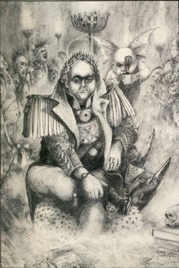 Gerontius Helmawr Necromunda Confrontation John Blanche ilustración