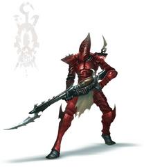 Eldar oscuro guerrero garra ensangrentada