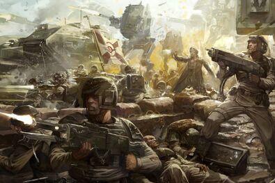 Guardia imperial frente de batalla soldados de cadia