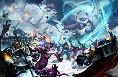 Magnus lucha en Fenris contra los Caballeros Grises