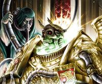 Emperador esqueleto trono dorado