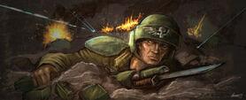Gi soldado cuerpo a tierra rafagas