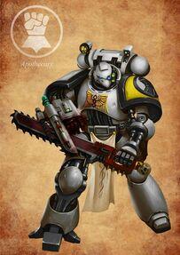 Marines puños imperiales apotecario espada sierra