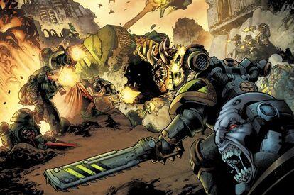 Caos guerreros de hierro segunda batalla Exyrion vs angeles oscuros