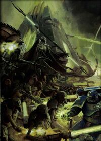 Guerreros Necrones Dinastia Sautekh Ultramarines Marines Espaciales Obelisco Wikihammer