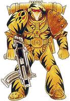Guerreros Mantis Francotirador Campaña Tranquility Esquema Camuflaje Servoarmadura Mark VI Corvus Marines Espaciales Astartes Wikihammer