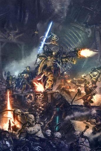 Inquisidor con servoarmadura vs mutantes y herejes varios