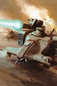 Tanque Cabezamartillo con Cañón Iónico abriendo fuego.