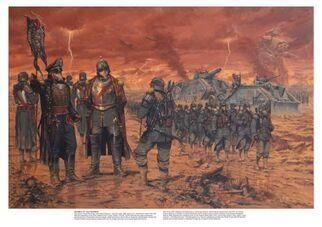 Tropas de Krieg marchan al frente