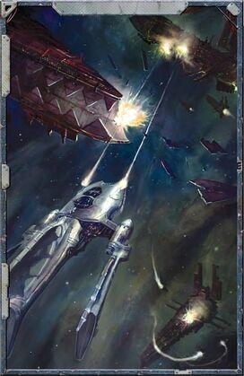 Eldar combate espacial vs caos