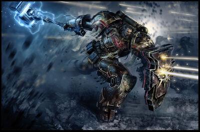 Guardia del Lobo Lobos Espaciales Servoarmadura Martillo Trueno Escudo Tormenta Warhammer