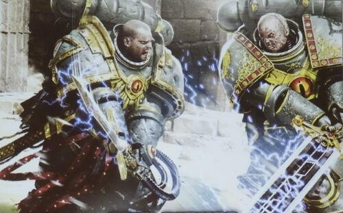 Tybalt Marr vs Horus Aximand Hijos de Horus The Either ilustración