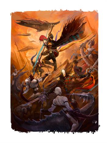 Eldar arlequines vs demonios slaanesh