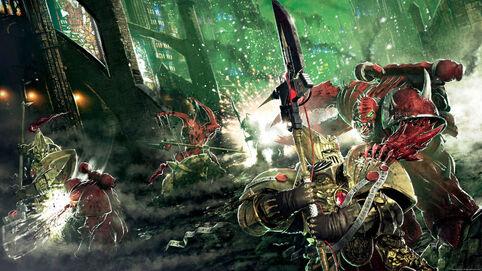 Adeptus custodes luchando contra marines espaciales del Caos poseidos