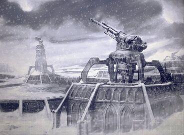 Mundo helado defensas orbitales en tierra