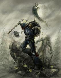 Sargento de los Ultramarines decapitando a un Orko (fan art)