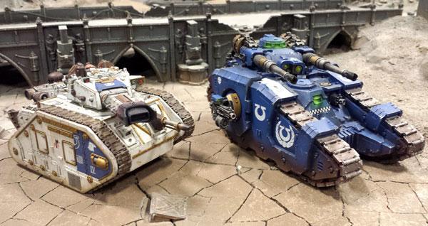 Ultramarines Leman Russ Incinerator y Tanque de Batalla Sicaran