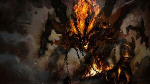 Demonios-fondos-de-pantalla-guerrero-demonio-fuego-cadenas-astas-cueva-514017