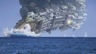 Flota caida crucero planeta oceanico