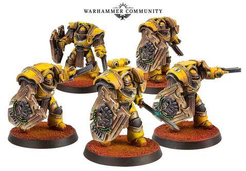 Exterminadores Cataphractii escudos tormenta Puños Imperiales FW miniaturas