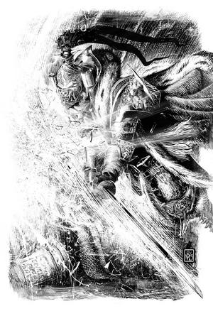 Jaghatai Khan destruye el reflejo de Magnus el Rojo en Prospero