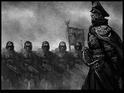 Guardia imperial comisario revista de tropas