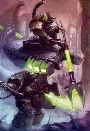 Lider Destructor Necron Exterminador Puños Imperiales Batalla Escudo Tormenta Wikihammer