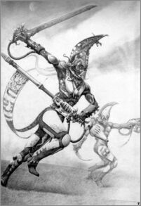 Exarca Dragones Llameantes Eldars Adrian Smith ilustración
