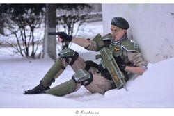 Cosplay guardia imperial nieve