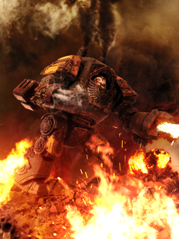 Marines escorpiones rojos dreadnought contemptor en combate