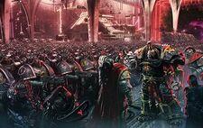 Ezekyle Abaddon Primer Capitán Hijos de Horus ante Justaerin