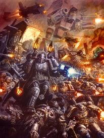 Asalto a Gran Escala de los Ultramarines acompañados con un Titan
