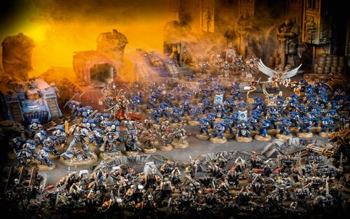 Ultramarines vs Legión Negra Fortaleza de Hera Rise of the Primarch diorama