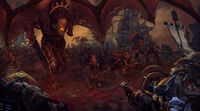 Angron Demonios Khorne Caballeros Grises Primera Guerra Armageddon