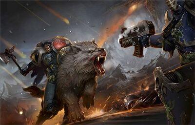 Marines lobos espaciales lobo de trueno vs marine caos
