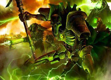 Lider Necron Obelisco Baculo de Luz Guerreros Necrones Rifle Gauss Wikihammer