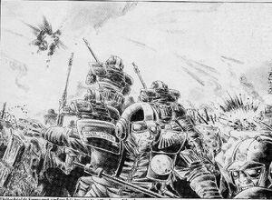 Escudos Blancos atacando Guardia Imperial Pete Knifton 1ª Edición ilustración