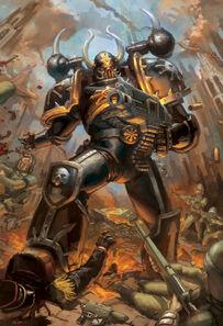 Marine Espacial del Caos de la Legión Negra masacrando a Guardias Imperiales