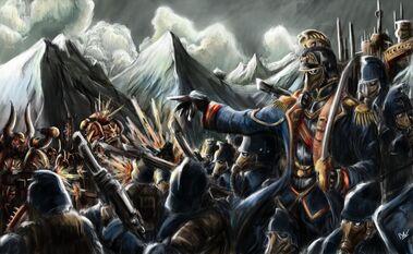 Korps de la Muerte de Krieg luchando contra Marines Espaciales del Caos
