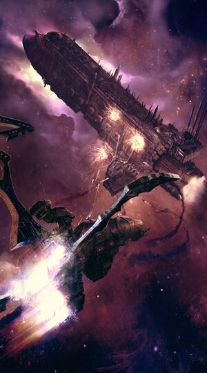 Ataque Crucero clase Tortura Eldars Oscuros vs Crucero de Batalla clase Soberano Imperial