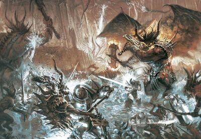 Marines caballeos grises vs demonios khorne