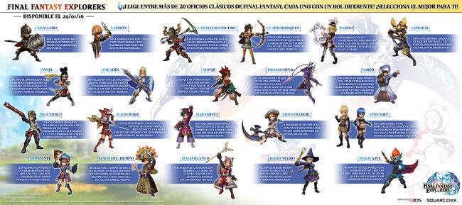 Final Fantasy Explorers oficios