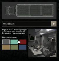 Interior del color gris para el COM