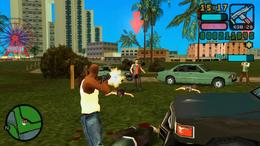 Victor disparando contra pandilleros