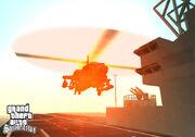 Un hunter aterrizando en el portaaviones de san fierro