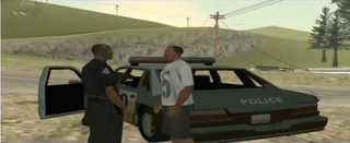 The green sabre coche de policia beta en la cutscene