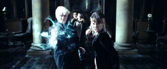 Narcissa y Draco luchando
