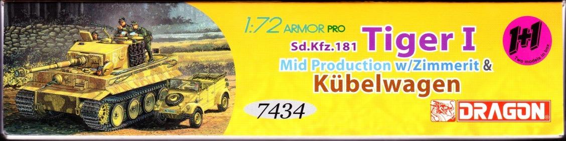 DRAGON 7434 1//72 Sd.Kfz.181 Tiger I Mid Production w//Zimmerit /& Kübelwagen