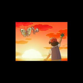 Ash despidiéndose de su Buterfree.